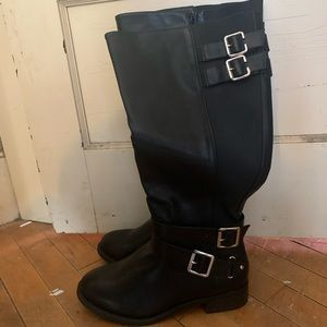 Black faux leather knee high boot